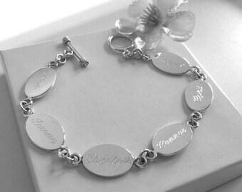 Personalized Sterling Silver Oval Family Bracelet, Engraved Mother's Bracelet, Grandma Bracelet, Grandmother's Bracelet, Mother's Day Gift
