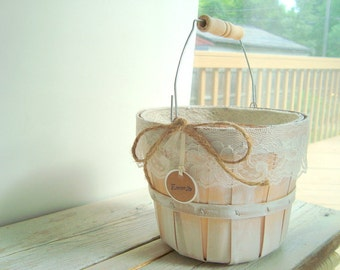 SALE -- Wooden flower girl pail. personalized basket . shabby chic basket whitewash with ivory lace . country wedding . rustic wedding