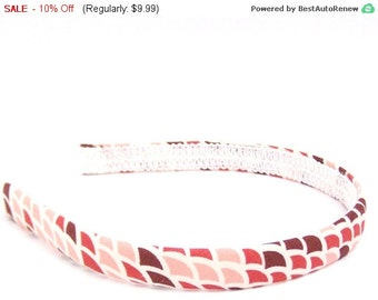 SALE Abstract Headband in Red, Pink and Burgundy - Narrow Width