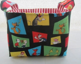 Fabric Organizer Basket Storage  Bin Container Fabric - Dr Seuss The Cat in The Hat  Black