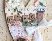 RESERVED LISTING: Betty's Vintage Style Custom Designed Heart with Peace Theme