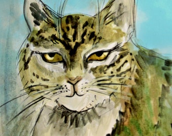 I want a word with you ! - beautiful big tabby cat art. Cat art by Ros Webb
