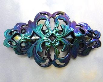 Iridescent Hair Barrette Blue Green Purple Hair Accessory