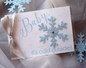 Baby, It's Cold Outside Blue Glitter Snowflake Baby Shower Invitation... SAMPLE