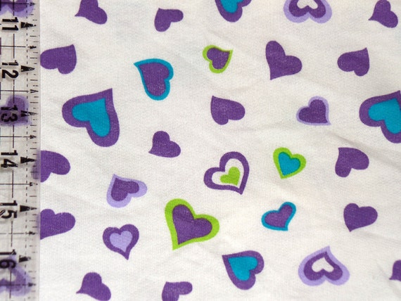 Kids cotton knit fabric purple hearts lime hearts blue for Kids knit fabric