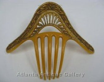 Large Victorian Celluloid Bridal Hair Comb