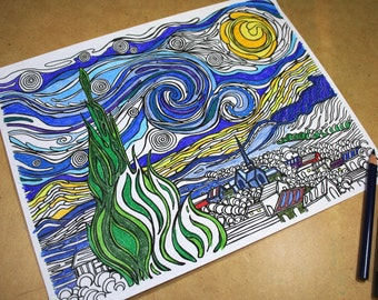 Printable Coloring Page . Adult Coloring Page . Classic Reproduction Art . Reproduction Line Drawing of Vincent Van Gogh's Starry Night