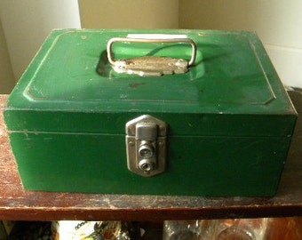 SALE! Vintage Industrial Green Metal Tool Box