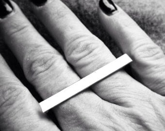 Sterling Silver Rectangle Ring - two Finger Ring