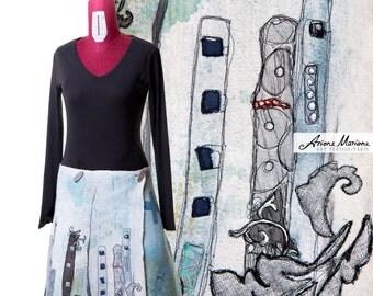 Women Skirt Felt Art - Outstanding Wearable Art - Reversible Silk Merino Wool Garment - Ecofriendly Natural Skirt - Handmade Paris Design