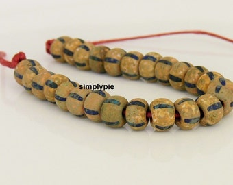 31/0 Czech Aged Matte Striped Picasso Glass Seed Beads 1 Strand/25