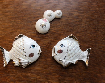 Kissing Fish Enesco Wall Plaque 3 piece Set VINTAGE by Plantdreaming.