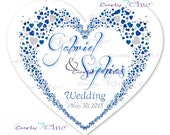 Wedding Heart Stickers -Personalized Stickers or Labels for your Favors -Choose Size-