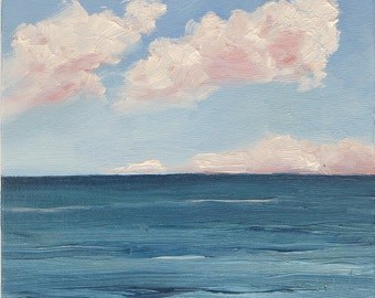 "Calm Sea. Framed 6"" x 6"" original oil painting on canvas board by Yvonne Wagner. Sea. See. Meer. Mer. Ocean. Beach. Clouds. Wolken. Ciel."