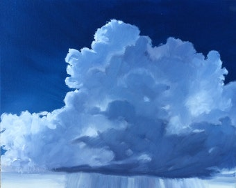 Majesty, 8 x 10 inch(20 x 26 cm) original oil painting on canvas panel by Yvonne Wagner. Cloud. Storm. Clouds. Nuages. Woken. Sturm.