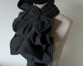 Ruffled Bow Scarf Double thickness - extra warm MADE-TO-ORDER fleece - Many colors to choose from