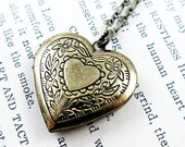 Heart Necklace Locket Pendant Necklace Heart Locket Floral Heart Victorian Heart Valentine's Gift Bridesmaid