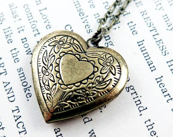 Heart Locket Necklace, Heart Pendant, Photo Locket, Victorian Heart, mother's day gift