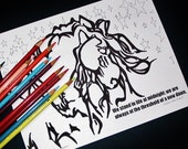 Fiery Majestic Frisian Horse Midnight 2 Coloring Page set One with Positive quote