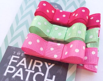 Baby hair clips, kids hair clips, polka dot hair bows, small hair bows, hair clips set, kids gift, kids accessories, baby shower gift