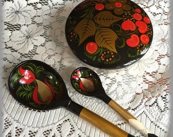 4 Pc Vintage Russian Khokhloma 2 Spoons + Covered Bowl Handmade, Red Black Gold Paint, Soviet Russia