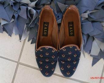 Vintage ZALO Needlepoint Loafers Shoes 8 Half