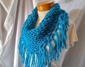 Turquoise chunky scarf Knit fringe triangle neckwarmer Blue Tribal bib acrylic Gift for her Unisex wrap Boho accessory