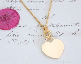 Heart Tag Y Style Necklace - Choice of Sterling Silver, Yellow, or Rose Gold Vermeil - Nickel Free - Ready to Ship