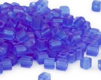 4mm Miyuki # SB150F,  transparent frosted cobalt blue square beads, 20 grams