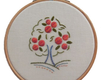 Orange tree crewelwork embroidery kit