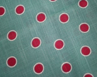 "1940s 1950s Rayon Linen Blend Polka Dot Fabric 2 yards at 38"" wide"