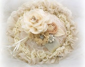 Ring Bearer Pillow, Wedding, Round, Bridal, Ivory, Cream, Champagne, Tan, Lace, Pearls, Chiffon, Ruffles, Crystals, Gatsby, Vintage, Elegant