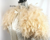 Champagne Cape, Feather Cape, Feather Shrug, Ivory, Bridal Cape, Shrug, Shawl, Church, Bolero, Capelet, Elegant, Vintage Style, Gatsby