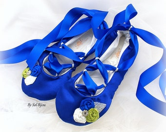 Ballet Flats, Royal Blue, White, Green, Cobalt Blue, Wedding Flats, Elegant Flats, Ballet Slippers, Flower Girl Flats, Wedding Reception
