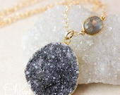50 OFF SALE Sparkly Black Drusy Necklace - Blue Labradorite - 14K Gold Filled, Layering Necklace