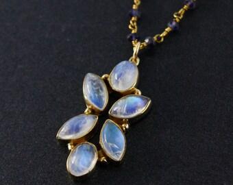 Rainbow Moonstone Petal Pendant Necklace – Blue Iolite Chain