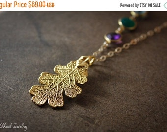 25% OFF Oak Leaf Necklace - Gold Dipped Leaf - Onyx, Amethyst, Layering Necklace