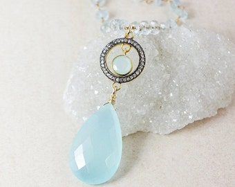 25% OFF Blue Chalcedony Teardrop Necklace – Pave White Topaz – Aquamarine Chain