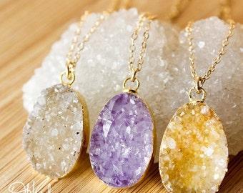 50% OFF Gold Druzy Necklaces - Colourful Druzy Pendants - Choose Your Druzy