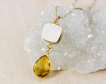 50% OFF SALE - White Druzy and Citrine Quartz Necklace – 14K Gold Filled