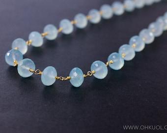 Aqua Chalcedony Necklace – Boho Necklace