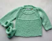 Hand knitted Sweater with little shoes