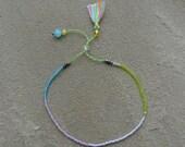 Summer Boho Chic - Beaded Tassel Bracelet - Yellow/Blue/Lilac Glass Beads - Friendship Stackable Bracelet ~
