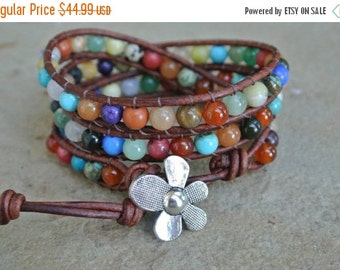 30% OFF SALE JustHipStuff Gemstone  Beaded Leather Wrap Bracelet