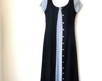 Black Dress - Sleeveless - Long Vest - Sleeveless Jacket - Button Front - Wool Blend - All Seasons - Recycled - Tailored - Size Small