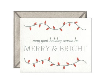 Merry and Bright letterpress card - single