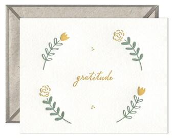 Floral Gratitude letterpress card - single