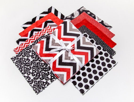 """Cuddle Cakes Minky 10"""" Squares in Red Black White and Grey, Maddening Monochromatic, 20 Pack, Plush Fabric Squares, Quiltsy Destash Party"""