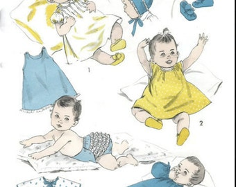 Vintage 1950s Infant Layette Pattern Two Dresses Sleeper Bonnet Booties Slip and Panties  1957 Advance 8219 One Size UNCUT