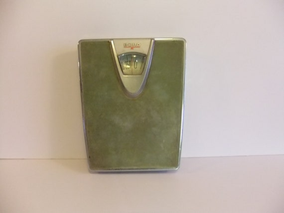 Vintage Bathroom scale old green Borg scale Prop Mid Century Weight Made in USA Heavy Duty. Vintage Bathroom scale old green Borg scale Prop by NimblesNook